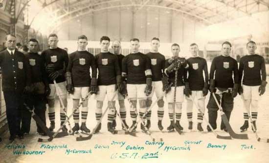 Американския хокеен отбор през 1920 на олимпиадата в Антверпен